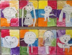verjaardagkalender klas: A4 verdelen in 6 vakken, inkleuren met waterverf of ecoline, dit-ben-ik-tekening laten maken met zwarte viltstift, uitknippen en opplakken. Naam en verjaardagsdatum eronder. Klaar!