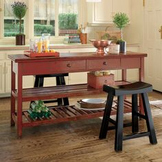 Simple Kitchen Island Made From A Woodworking Bench My