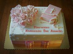 Komunia Christening Cake Girls, First Holy Communion Cake, Religious Cakes, Cake Images, Girl Cakes, Cake Designs, Cake Decorating, Birthday Cake, Decoration