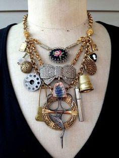 Statement jewelry necklace - Original Ideas for Repurposing Vintage Jewelry – Statement jewelry necklace Vintage Jewelry Crafts, Recycled Jewelry, Jewelry Art, Jewelry Drawer, Jewelry Cabinet, Jewellery Uk, Antique Jewellery, Handmade Jewelry, Found Object Jewelry