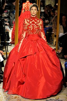 Marchesa Fall/Winter 2012-2013, red gown with embroidered bodice and a beautiful full skirt