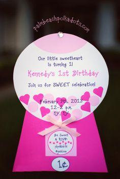 Valentine Valentine's Day Gumball Gum,Ball Bubble Gum Birthday Invite Invitation Invitations Collection on Etsy, $2.50