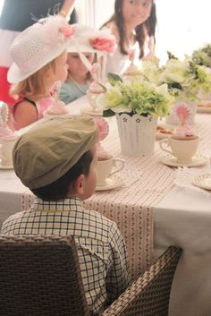 Francesca's Tea Party--lots of birthday tea party ideas. love that the boys are even dressed up!