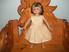 American 18 Inch doll clothes dress is light tan with circles on it by sue18inchdollclothes on Etsy