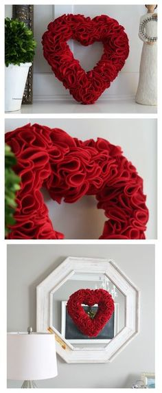 Crafts | Valentine's Day | Heart Wreath Tutorial. Great and easy project for your Valentine's Day Decor.