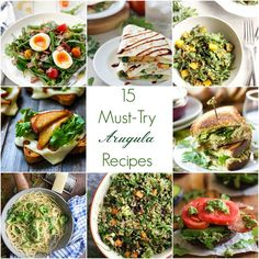 15 Must-Make Arugula Recipes 15 Must-Try Arugula Recipes this Spring 15 Must-Make Recipes Fall of Love Real Food Healthy Recipes, Healthy Meals, Easy Appetizer Recipes, Dinner Recipes, Argula Recipes, Marinated Salmon, Arugula, Vegetable Dishes