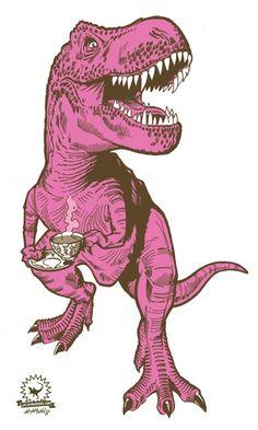 Rex (pink) tea towel - Designer tea towels from Dinosaur Illustration, Art Et Illustration, Illustrations, Pop Art, Pink Tea Towels, Dinosaurs Live, New Retro Wave, Dinosaur Art, Tatoo Art