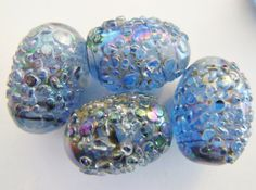 Vintage sugar beads 2  glass blue purple frit by a2zDesigns, $4.50