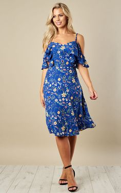 Blue floral off the shoulder dress by Luna