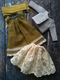 Ochre Dress and Jacket set for Ruruko and par moshimoshistudio