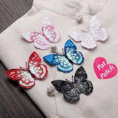 Set of 5 color pcs Butterflies  patch sequin patch embroidered patch sew on patch applique  Size : 6 cm X 5 cm  Color : as is photo  Quantity : 1 Set ( 5 patches ) each colour