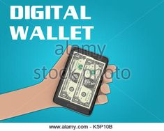 3D illustration of two bills of 1 dollar on the screen of a cellulr phone held by hand, isolated on blue gradient, - Stock Photo