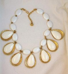 Signed Napier White Lucite Dangle Necklace