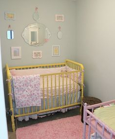 Adorable baby girl nursery in a master bedroom closet! Yellow, mint green, pink and birds