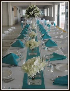pretty blue and white combo themes teal Wedding Reception Reception Table, Reception Decorations, Wedding Centerpieces, Wedding Table, Wedding Reception, Table Decorations, Centerpiece Ideas, Table Centerpieces, Wedding Colors