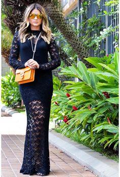 Vestido-trico-longo-rendado-preto | Galeria Tricot - Galeria Tricot