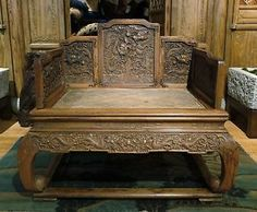 Antique chinese imperial five-claw dragon throne chair carved huanghuali wood