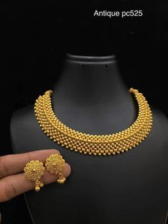 Gold Jewelry Elegant 1 gram Necklaces - Elegant Fashion Wear - Elegant Fashion Wear Explore the trendy fashion wear by different stores from India Gold Bangles Design, Gold Earrings Designs, Gold Jewellery Design, Handmade Jewellery, Jewellery Box, Silver Jewellery, India Jewelry, Jewellery Shops, Jewellery Bracelets