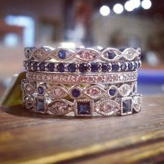 Stack up your something blue! #diamond #sapphire #weddingband #stackingband
