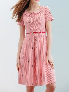 #AdoreWe #StyleWe Midi Dresses❤️Designer Wifing Crew Neck Cotton Short Sleeve Casual Midi Dress - AdoreWe.com