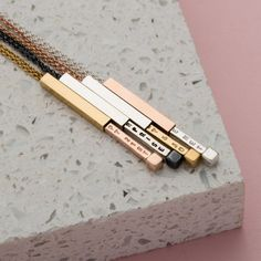 The Personalised Secret Message Slider Necklace is a beautifully tactile and subtle design. If you prefer a discreet way to wear your personalisation the Personalised Secret Message Slider Necklace is. Slider Bar, Birthday Wishes For Boyfriend, Special Words, Rose Gold Chain, Metal Necklaces, Men Necklace, Personalized Jewelry, Rose Gold Plates, Sliders