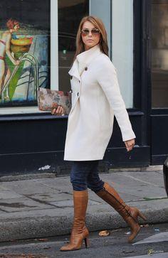 julianne hough - white coat & great knee high boots