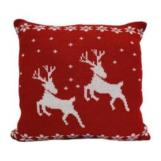 Luxury Knitted Reindeer Christmas Cushion Red White ($17) ❤ liked on Polyvore featuring home, home decor, holiday decorations, christmas, christmas holiday decorations, christmas holiday decor, holiday reindeer decorations and christmas home decor