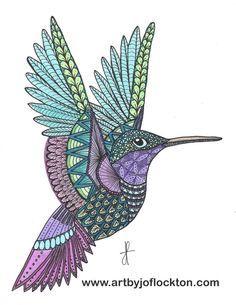 Tangled Metallic Hummingbird, using Ben Kwok's template (Ornation Creation). $19.25