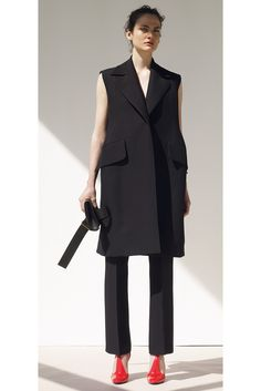 Céline Resort 2015 - Collection. Perfect minimalistic - black sleeveless vest and red shoes.