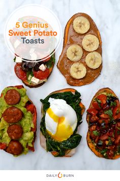 Here's our take on the latest food trend: sweet potato toast. Whether you like it sweet or savory, these crostini-inspired recipes are sure to be a hit.  via @dailyburn