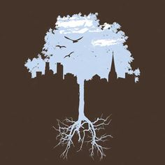 simple graphic with a mix of nature vs the urban environment. Man Vs Nature, Landscape Tattoo, Nature Posters, Urban Nature, Creative Art, Art Drawings, Artsy, Sketches, Graphic Design