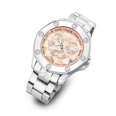 Swiss-made watch With a pink face, four diamonds and diamond-cut glass at  $895.00