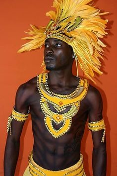 Yellow Male Tribal Costume - Carnival Info - Yellow Male Carnival Costumes 2