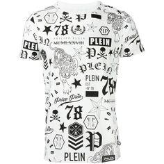 Philipp Plein 'So Black' T-shirt (1.165 BRL) ❤ liked on Polyvore featuring men's fashion, men's clothing, men's shirts, men's t-shirts, white, mens white cotton shirts, mens white t shirts, mens short sleeve shirts, mens white short sleeve shirt and mens white shirts