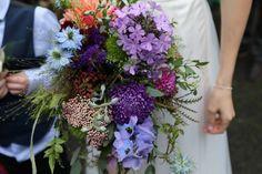 Colourful natural summer bouquet, British flowers, high summer wedding
