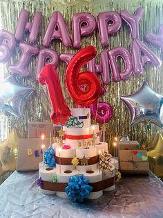 Happy 16th Birthday, Birthday Cake, Desserts, Tailgate Desserts, Deserts, Birthday Cakes, Postres, Dessert, Cake Birthday