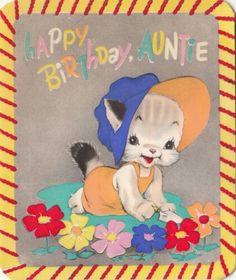 """1942 vintage kitten by Rust Craft: """"Happy Birthday Auntie"""""""