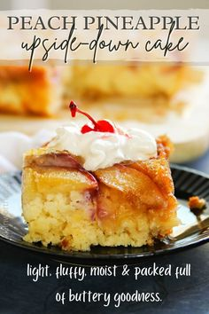 This Peach Pineapple Upside Down Cake that is light, fluffy, moist & packed full of that buttery goodness.