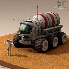 Lunar Tanker Truck & Astronaut - 3d model - CGStudio