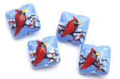 Four Red Cardinal Pillow Beads