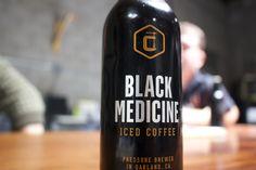 Black Medicine Iced Coffee: Bottled, Mysterious, Vitamin Enhanced, Pressure-Brewed And Nitrogen-Coddled - Branding & Identity - Kaffee Coffee Menu, Coffee Type, Coffee And Books, Coffee Signs, Iced Coffee, Espresso Coffee, Coffee Shop, Cinnamon Coffee, Coffee Cozy