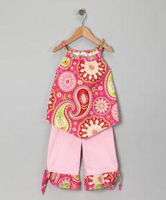 Look at this #zulilyfind! Pink Paisley Gypsy Yoke Top & Capri Pants - Toddler & Girls #zulilyfinds