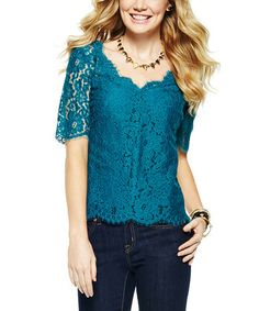 Another great find on #zulily! Emerald Lace Scoop Neck Top #zulilyfinds
