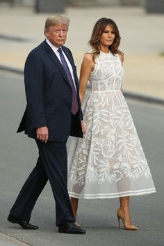 First Lady Melania Trump made an appearance in a Delpozo midi dress on Sunday, August 20 — see more of her most stylish looks here Blue Dresses, Summer Dresses, Formal Dresses, Vestidos Elie Saab, Dress Outfits, Fashion Dresses, White Dress Outfit, Fashion Fashion, Marine Uniform