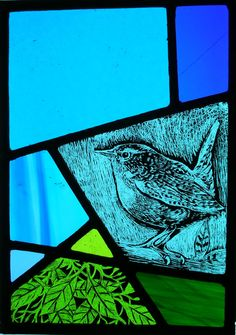 Painted, leaded and kiln-fired glass panel depicting a wren and stylised foliage. Modern Stained Glass, Stained Glass Paint, Stained Glass Birds, Stained Glass Christmas, Stained Glass Suncatchers, Stained Glass Designs, Stained Glass Panels, Stained Glass Projects, Fused Glass Art