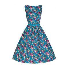 Lindy Bop Turquoise Floral Audrey 1950's Vintage Dress
