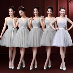 29 ideas dress bridesmaid short gray for 2019 Grey Bridesmaid Dresses Short, Grey Bridesmaids, Short Bridesmaid Dresses, Short Dresses, Dama Dresses, Quince Dresses, Long Sleeve Tunic Dress, Lace Dress, Gray Dress