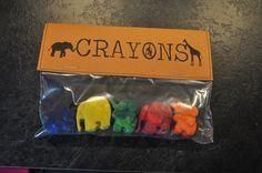Safari Birthday - Elephant Crayons (melted down & reshaped)!