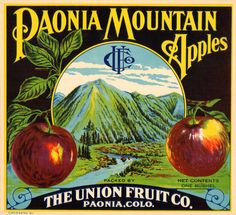 Paonia Mountain Vintage Apple Crate Label Paonia