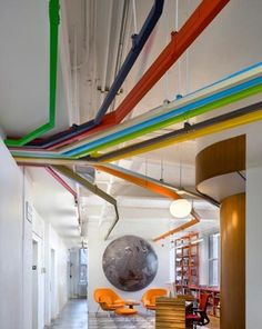 Usually unwanted, multicolor cable trays make such a great statement.